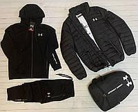 Under Armour мужской черный спортивный костюм комплект весна осень.Спортивный костюм+Футболка+Куртка+Рюкзак