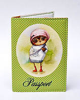 """Обложка на паспорт """"Сова"""" на зеленом фоне"""