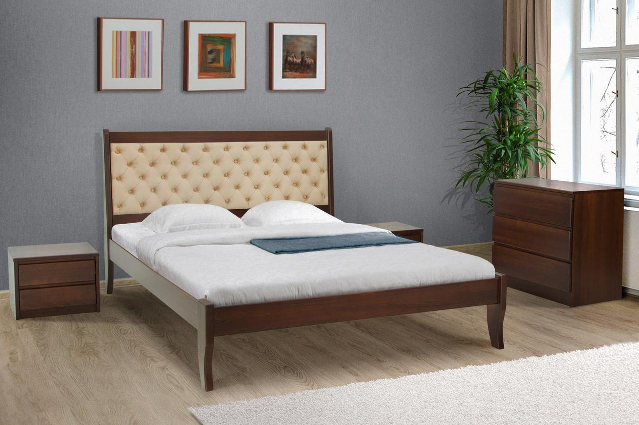 Кровать деревянная Монтана 160 х 200 см темный орех (Беатрис 03)
