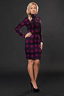 Теплое платье с   воротником -стойка
