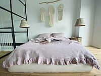 "Полуторний комплект з 100% льону з рюшами ""French Vintage Rose Pale"", фото 1"