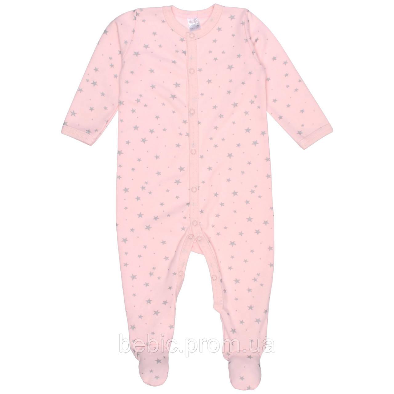 Комбинезон Интерлок 100% хлопок розовый с звездами Рост:74 см