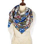 Весеннее утро 555-4, павлопосадский платок шерстяной с шелковой бахромой, фото 2