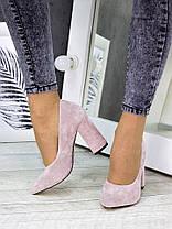 Туфли на каблуке пудра замша 7243-28, фото 2