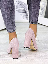Туфли на каблуке пудра замша 7243-28, фото 3