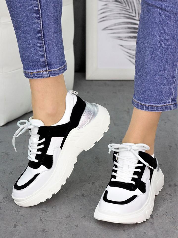 Кросівки шкіра Balenc!aga біло-чорні 7250-28 Розміри 36-40