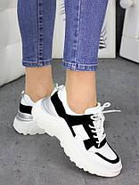 Кросівки шкіра Balenc!aga біло-чорні 7250-28 Розміри 36-40, фото 2