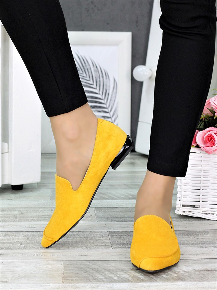 Класичні туфлі на низькому ходу гірчиця 7367-28