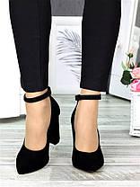 Класичні туфлі з ремінцем черн. замша 7369-28, фото 2