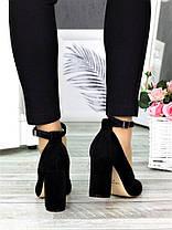 Класичні туфлі з ремінцем черн. замша 7369-28, фото 3