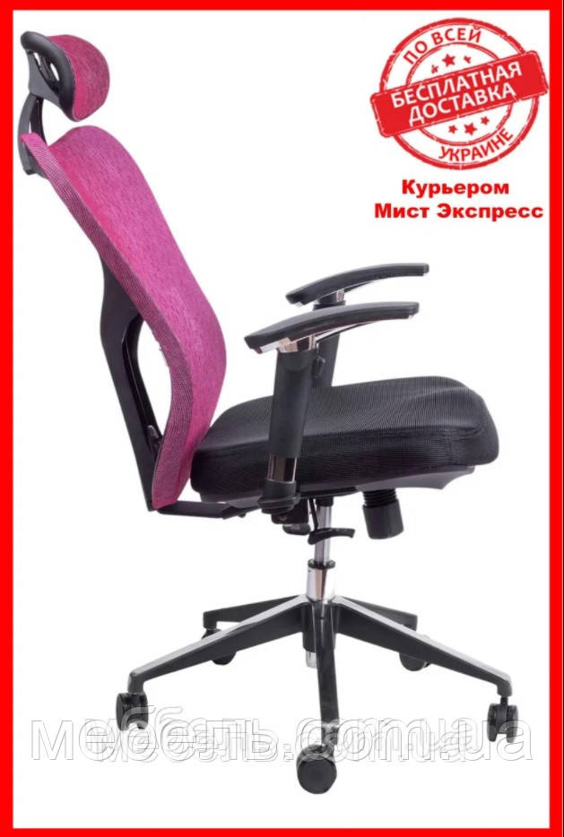 Кресло для врача Barsky Fly-02 Butterfly Black/Bordo, сеточное кресло, черный / бордовый