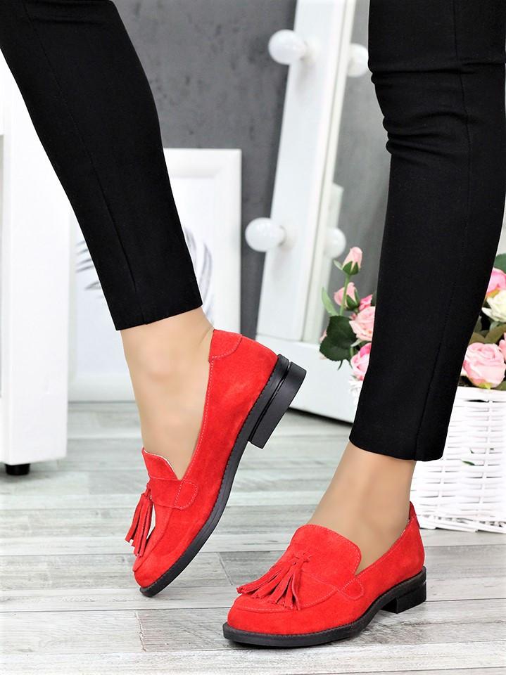 Туфлі лофери №2 червона замша 7375-28