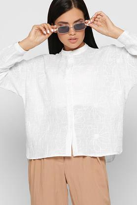 Модная белая рубашка оверсайз из хлопка с вышивкой, фото 2