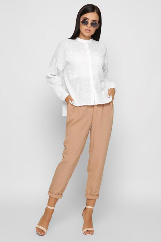 Модная белая рубашка оверсайз из хлопка с вышивкой