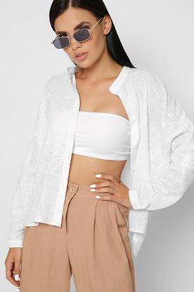 Модная белая рубашка оверсайз из хлопка с вышивкой, фото 3