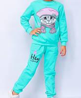 Костюми для дівчаток на ріст 86,98,110 з котиком,колір бірюза