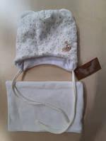 Шапочка для дівчаток з хомутиком,біла велюрова розмір 44-46,46-48,48-50