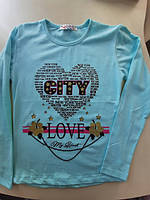 Кофта для дівчинки  на ріст 134,140,146,152см  з написом СІТУ у двох кольорах персик та бірюза