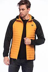 Куртка мужская демисезонная с капюшоном Multi Quilted Jacket Jack & Jones оранжево черный -12148532