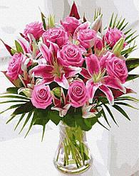 Картина по номерам Brushme Букет рожевих лілій GX27905 40х50см набор для росписи Цветы и натюрморты