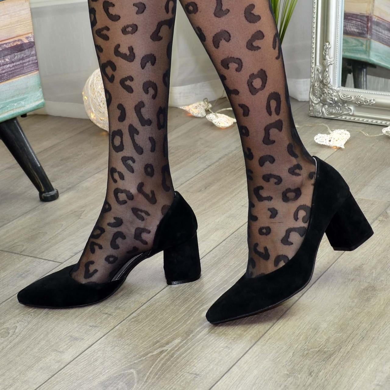 Туфлі жіночі замшеві на невисокому стійкому каблуці, колір чорний