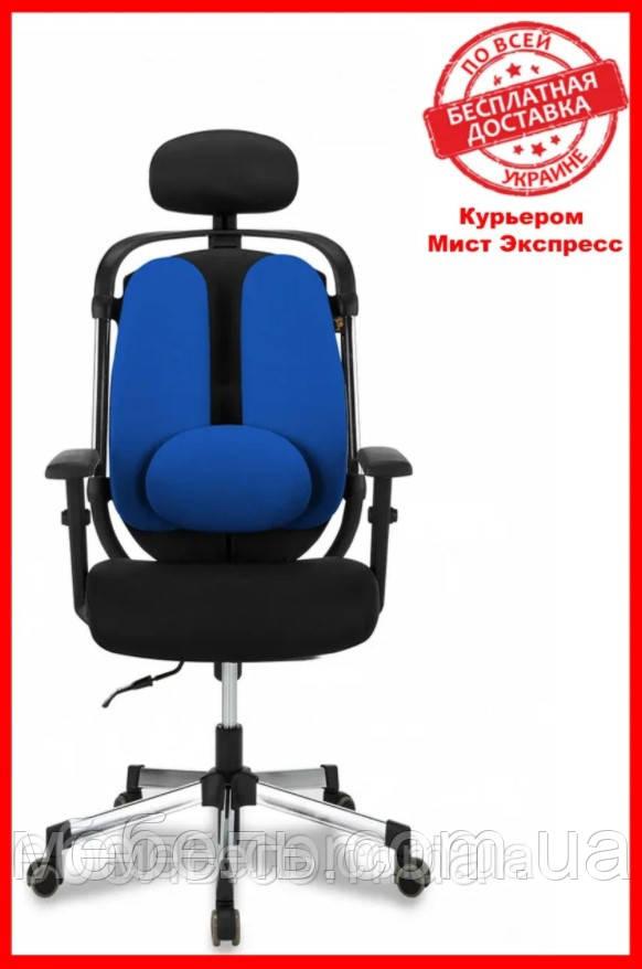Кресло для врача Barsky ER-04 Ergonomic black, кресло из ткани, черный / синий