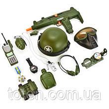 Набір військовий 33570 спецназ бінокль,автомат,фляга,рація,каска для хлопчика 015в