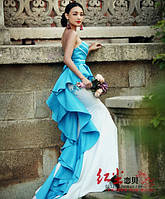 Платье коктельное вечернее белое с голубым нарядное выпускной