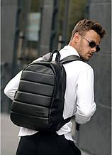 Классический черный мужской рюкзак из эко-кожи (качественного кожзама) деловой, офисный, для ноутбука 15,6
