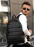 Классический черный мужской рюкзак из эко-кожи (качественного кожзама) деловой, офисный, для ноутбука 15,6, фото 2