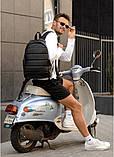 Классический черный мужской рюкзак из эко-кожи (качественного кожзама) деловой, офисный, для ноутбука 15,6, фото 3
