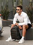 Классический черный мужской рюкзак из эко-кожи (качественного кожзама) деловой, офисный, для ноутбука 15,6, фото 4