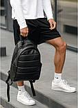 Классический черный мужской рюкзак из эко-кожи (качественного кожзама) деловой, офисный, для ноутбука 15,6, фото 5