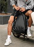 Классический черный мужской рюкзак из эко-кожи (качественного кожзама) деловой, офисный, для ноутбука 15,6, фото 6