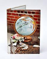 """Обложка на паспорт """"Глобус"""" коричневая"""