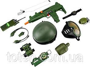 Набір військовий 33570 спецназ бінокль,автомат,фляга,рація,каска для хлопчика Т