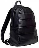 Классический черный мужской рюкзак из эко-кожи (качественного кожзама) деловой, офисный, для ноутбука 15,6, фото 7