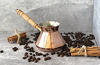 Медная турка Джезва для кофе НЛО гладкая 300 мл.