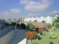Проект двора: баня с сауной, бассейн, терраса, ландшафт
