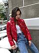 Модна червона коротка, демісезонна куртка жіноча, фото 5