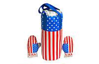 Дитячі боксерський набір підвісний рукавички і груша кожзам Danko Toys Америка. Спортивні подарунки для дітей