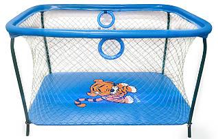 Манеж детский игровой KinderBox люкс Темно-голубой тигренок с крупной сеткой.(R 5518)