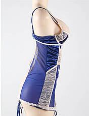 Эротический боди корсет с подтяжками синий. Для пышных дам., фото 2