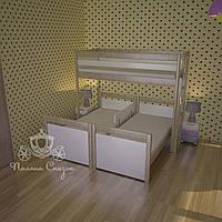 Независимые кровати из ясеня для троих деток+бортик!
