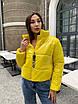 Короткая дутая модная желтая куртка женская, фото 3