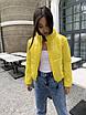 Короткая дутая модная желтая куртка женская, фото 4