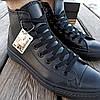Мужские высокие кеды конверсы all star converse кожаные черные деми демисезон, фото 4