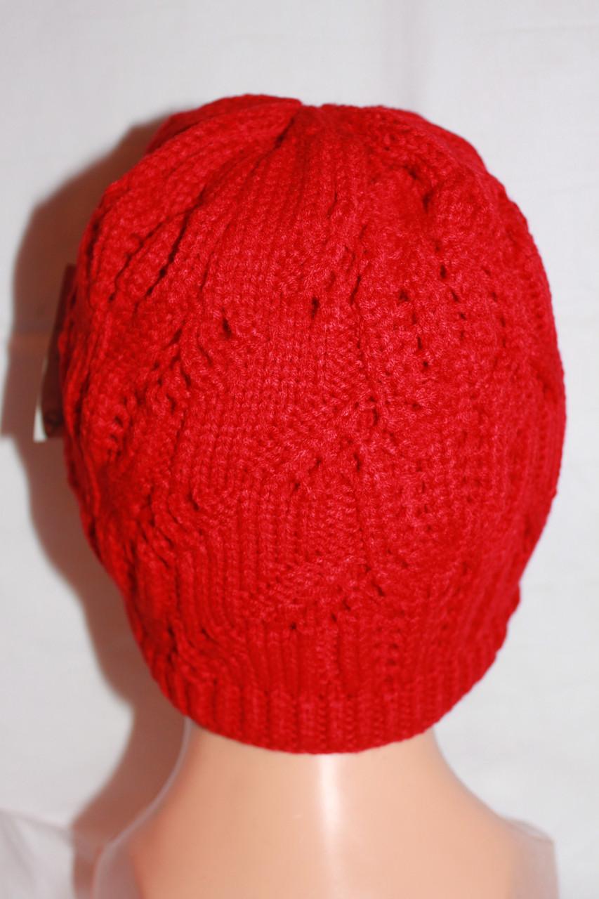 Шапка женская двойная вязка, зимняя, красная