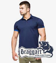 Braggart | Футболка мужская поло 6073 т.синий-голубой