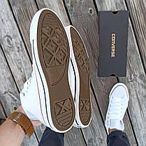 Мужские высокие кеды конверсы all star converse кожаные Белые деми демисезон, фото 3